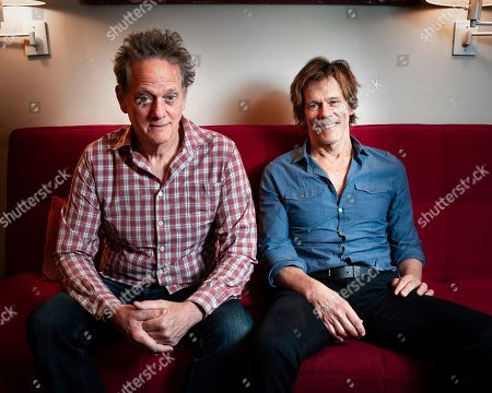 Michael Bacon, left, and Kevin Bacon pose for photos at a home studio in Manhattan on Tuesday, May 28th, 1985, in New York, New York