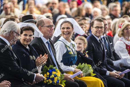 King Carl Gustaf, Queen Silvia, speaker of the parliament Urban Ahlin, Crown Princess Victoria, Princess Estelle, Prince Daniel,