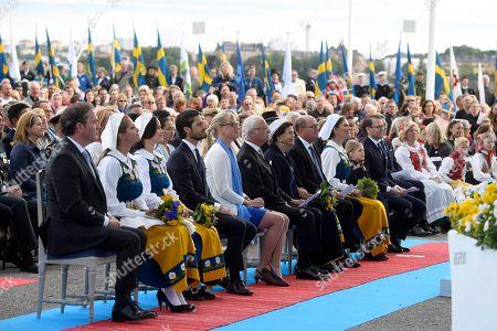 Chris O'Neill, Princess Madeleine, Princess Sofia of Sweden, Prince Carl Philip, Jenni Ahlin, King Carl Gustaf, Queen Silvia, Urban Ahlin, Crown Princess Victoria, Princess Estelle and Prince Daniel