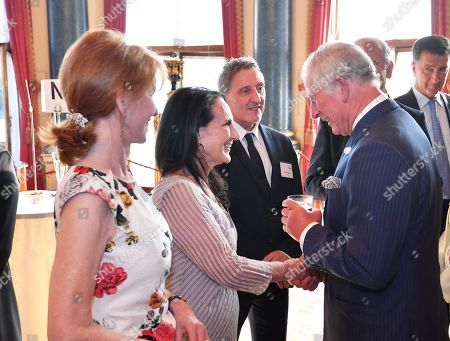 Prince Charles with with Jane Asher and Lesley Joseph during a reception for Age UK at Buckingham Palace