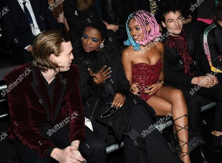 Caleb Landry Jones, Lauryn Hill, Selah Marley, Ezra Miller. Actor Caleb Landry Jones, left, singer Lauryn Hill, Selah Marley and actor Ezra Miller attends the Saint Laurent Spring/Summer 2019 Menswear Collection at Liberty State Park, in New Jersey