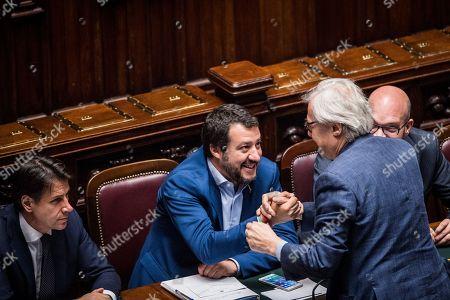 Prime Minister Giuseppe Conte, Minister of Interior Matteo Salvini, Vittorio Sgarbi, Minister of Family and Disability Lorenzo Fontana