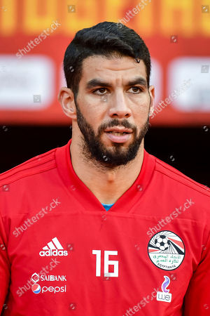 Egypt's goalkeeper Sherif Ekramy during a friendly soccer match between Belgium and Egypt at the King Baudouin stadium in Brussels