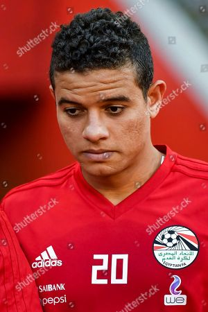 Stock Photo of Egypt's Saad Samir during a friendly soccer match between Belgium and Egypt at the King Baudouin stadium in Brussels