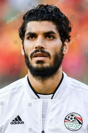 Egypt's Ali Gabr during a friendly soccer match between Belgium and Egypt at the King Baudouin stadium in Brussels