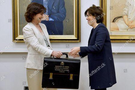 Stock Picture of Carmen Calvo and Soraya Saez de Santamaria