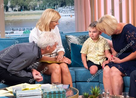Phillip Schofield and Holly Willoughby with Paula Hudgell, Mark Hudgell with Tony Smith