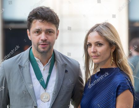 Conrad Shawcross and Carolina Mazzolari arrive at the Royal Academy for the Exhibition Preview Party