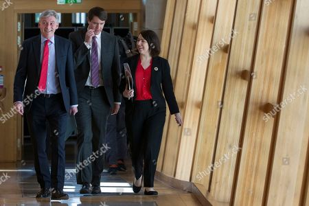 Scottish Parliament First Minister's Questions - Richard Leonard, Leader of the Scottish Labour Party, Mark Griffin and Monica Lennon make their way to the Debating Chamber