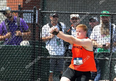 Stock Image of Adam Kelly of Princeton competes in the Men's Hammer Throw at the NCAA Track & Field Championships at Historic Hayward Field, Eugene, OR. Larry C