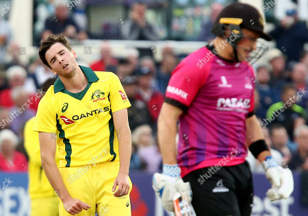 Jhye Richardson of Australia looks dejected after seeing Harry Finch of Sussex hits four off his bowling.