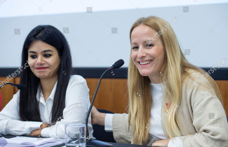 Martina Brostrom, whose allegations about sexual harrassment at the UNAIDS body, and then more widely at the UN itself, have led to calls for the executive director Michel Sidibe to step down. Pictured with Prashanti Tiwari (left) a victim of sexual abuse at UNFPA in India.