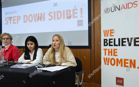 Martina Brostrom, whose allegations about sexual harrassment at the UNAIDS body, and then more widely at the UN itself, have led to calls for the executive director Michel Sidibe to step down. Pictured with Prashanti Tiwari (centre) a victim of sexual abuse at UNFPA in India. Ms Zola Shabarova AHF Europe Bureau Chief (left).