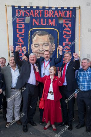 Miners protest outside The Scottish Parliament with Neil Findlay MSP and Richard Leonard MSP, Leader of the Scottish Labour Party