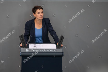 Independent Member of Parliament Frauke Petry speaks during a session of the German Bundestag in Berlin, Germany, 07 June 2018. Two German parties the Free Democrats (FDP) and the righ-wing Alternative For Germany (AFD) party have presented their demands to open an inquiry on the topic of unlawfully approved asylum applications by the Office for Migration and Refugees (Bundesamt fuer Migration und Fluechtlinge, BAMF). A former employee at the BAMF's regional Bremen branch may have issued positive answers to some 1,200 requests for asylum in Germany despite the Bremen office not being authorized to do so. Reports state three lawyers and two other persons may have organized the contacts to Bremen office from 2013 to 2016.