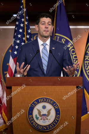 Stock Image of Speaker of the House of Representatives Paul Ryan, Republican of Wisconsin, speaks with reporters during his weekly press conference on Capitol Hill in Washington, DC.