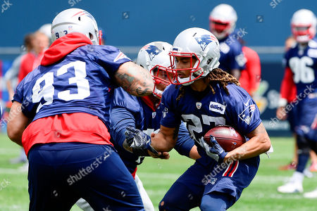 New England Patriots corner back Ryan Lewis (27) runs a drill at the team's mini camp held on the practice fields at Gillette Stadium, in Foxborough, Massachusetts