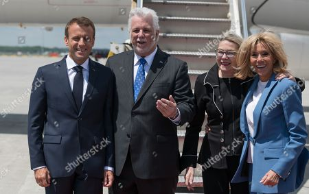 Emmanuel Macron, Philippe Couillard and his wife, Brigitte Macon.