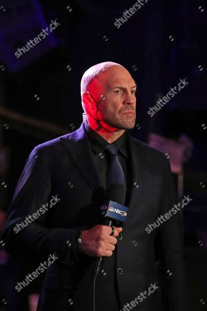 Randy Couture is seen broadcasting during a mixed martial arts bout at PFL 1, at Madison Square Garden in New York