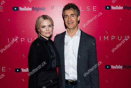 """Maddie Hasson, Doug Liman. Maddie Hasson and Doug Liman attend a screening of """"Impulse"""", hosted by YouTube, at the Roxy Cinema, in New York"""