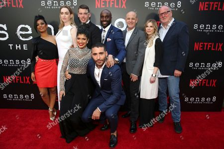 """Freema Agyeman, Jamie Clayton, Tina Desai, Brian J. Smith, Miguel Angel Silvestre, Toby Onwumere, Peter Friedlander, Laura Delahaye, Grant Hill. Freema Agyeman, Jamie Clayton, Tina Desai, Brian J. Smith, Miguel Angel Silvestre, Toby Onwumere, Netflix Vice President of Original Series Peter Friedlander, Netflix Manager of Original Series Laura Delahaye and Executive Producer Grant Hill seen at the screening of Netflix Original Series """"Sense8"""" Finale at the ArcLight Hollywood, in Los Angeles"""
