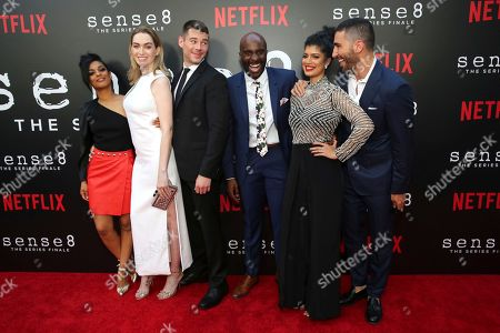 """Freema Agyeman, Jamie Clayton, Brian J. Smith, Toby Onwumere, Tina Desai, Miguel Angel Silvestre. Freema Agyeman, Jamie Clayton, Brian J. Smith, Toby Onwumere, Tina Desai and Miguel Angel Silvestre seen at the screening of Netflix Original Series """"Sense8"""" Finale at the ArcLight Hollywood, in Los Angeles"""