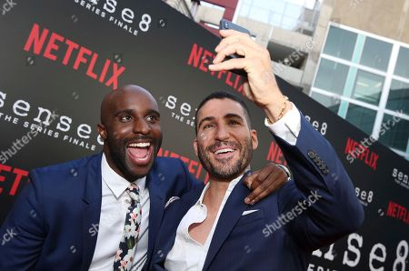 """Toby Onwumere, Miguel Angel Silvestre. Toby Onwumere and Miguel Angel Silvestre seen at the screening of Netflix Original Series """"Sense8"""" Finale at the ArcLight Hollywood, in Los Angeles"""