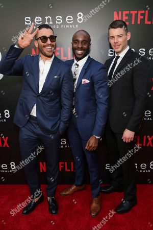 """Miguel Angel Silvestre, Toby Onwumere, Brian J. Smith. Miguel Angel Silvestre, Toby Onwumere and Brian J. Smith seen at the screening of Netflix Original Series """"Sense8"""" Finale at the ArcLight Hollywood, in Los Angeles"""