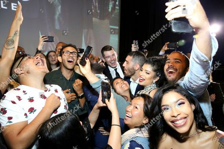 """Toby Onwumere, Brian J. Smith, Miguel Angel Silvestre, Tina Desai. Toby Onwumere, Brian J. Smith, Miguel Angel Silvestre and Tina Desai join fans during Linda Perry's performance at the screening of Netflix Original Series """"Sense8"""" Finale at the ArcLight Hollywood, in Los Angeles"""