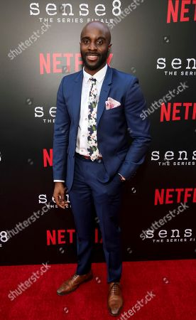 """Toby Onwumere seen at the screening of Netflix Original Series """"Sense8"""" Finale at the ArcLight Hollywood, in Los Angeles"""