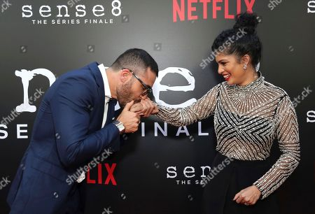 """Stock Image of Miguel Angel Silvestre, Tina Desai. Miguel Angel Silvestre and Tina Desai seen at the screening of Netflix Original Series """"Sense8"""" Finale at the ArcLight Hollywood, in Los Angeles"""