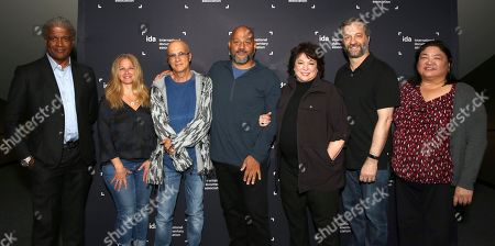 Elvis Mitchell, Guest, Jimmy Iovine, Allen Hughes, Susan Lacy, Judd Apatow and IDA Director of Programming Claire Aguilar