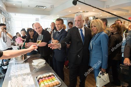 Emmanuel Macron, Philippe Couillard and Brigitte Trogneux in the pastry shop of Christian Faure.