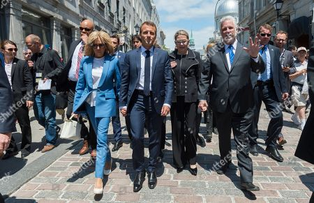 Stock Picture of Brigitte Trogneux and Emmanuel Macron, Philippe Couillard and his wife