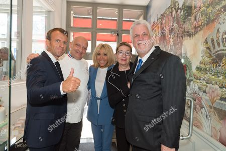 Emmanuel Macron, Christian Faure, Brigitte Trogneux and Philippe Couillard and his wife.