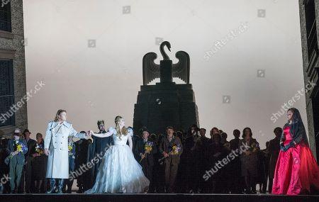 Klaus Florian Vogt as Lohengrin, Georg Zeppenfeld as King Heinrich, Jennifer Davis as Elsa,  Christine Goerke as Ortrud