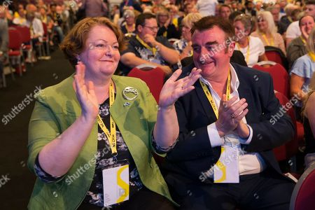 Stock Photo of Siege on Gaza debate - Dr Philippa Whitford and Tommy Sheppard applaud the result of the debate