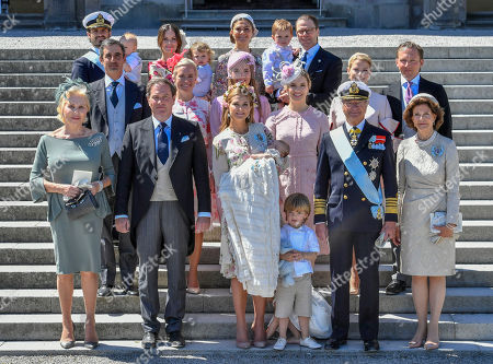 Family picture of the royal family and the godparents after princess Adrienne's christening ceremony  in Drottningholm Palace Chapel outside Stockholm, 08 June 2018. 