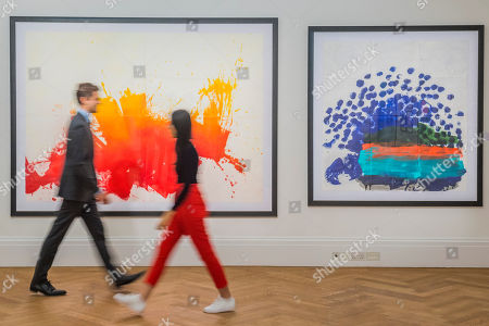 In India, 2012, est £10-15,000, And When only the Best will Do, est £7-9,000,  part of Working on Paper by Howard Hodgkin