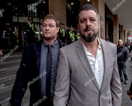 Rick Turner (L) and Neil Erikson leave the Melbourne Magistrates Court in Melbourne, Victoria, Australia, 08 June 2018. Neil Erikson, Richard Whelan, Rick Turmer, and Garry Hume are to appear in court after they were charged over riots which erupted in Melbourne during a visit by controversial British speaker Milo Yiannopoulos.