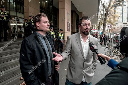 Rick Turner (L) and Neil Erikson speak to the media as they leave the Melbourne Magistrates Court in Melbourne, Victoria, Australia, 08 June 2018. Neil Erikson, Richard Whelan, Rick Turmer, and Garry Hume are to appear in court after they were charged over riots which erupted in Melbourne during a visit by controversial British speaker Milo Yiannopoulos.