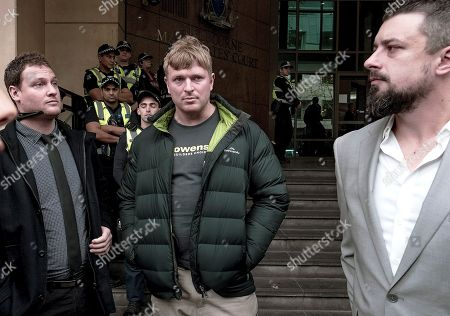 (L-R) Rick Turner, Blair Cottrell, and Neil Erikson are seen outside the Melbourne Magistrates Court in Melbourne, Victoria, Australia, 08 June 2018. Neil Erikson, Richard Whelan, Rick Turmer, and Garry Hume are to appear in court after they were charged over riots which erupted in Melbourne during a visit by controversial British speaker Milo Yiannopoulos.