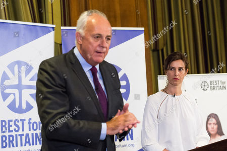 Chief executive officer Eloise Todd (R) and Chairman Lord Mark Malloch Brown (L) take part in the Q&A session as pro-EU group Best for Britain launch their campaign manifesto to stop Brexit and to keep the UK in the European Union