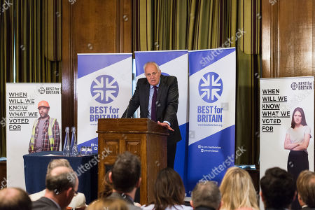 Stock Image of Chairman Lord Mark Malloch Brown addresses the audience as pro-EU group Best for Britain launch their campaign manifesto to stop Brexit and to keep the UK in the European Union