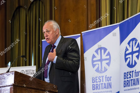 Chairman Lord Mark Malloch Brown addresses the audience as pro-EU group Best for Britain launch their campaign manifesto to stop Brexit and to keep the UK in the European Union