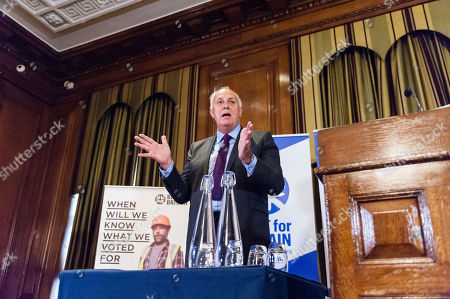 Stock Photo of Chairman Lord Mark Malloch Brown takes part in the Q&A session as pro-EU group Best for Britain launch their campaign manifesto to stop Brexit and to keep the UK in the European Union