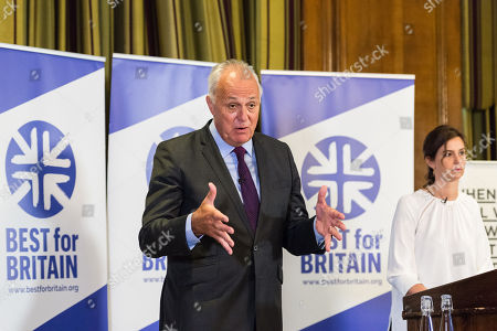 Stock Picture of Chief executive officer Eloise Todd (R) and Chairman Lord Mark Malloch Brown (L) take part in the Q&A session as pro-EU group Best for Britain launch their campaign manifesto to stop Brexit and to keep the UK in the European Union