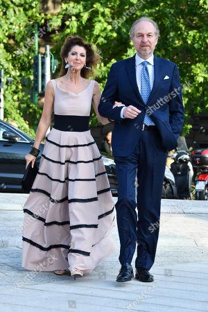 Stock Photo of Milan, Convivio gala evening. in the photo: Arturo Artom, Alessandra Repini