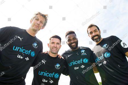 Edwin van der Sar, Robbie Keane, Darren Bent and Robert Pires during training at Motspur Park training ground with World XI