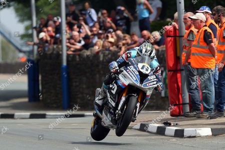 Michael Dunlop in action on his Tyco BMW, during the PokerStars Senior TT Race at the Isle of Man TT, Isle of Man, Britain, 8 June 2018.